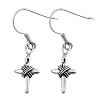 Silver Earrings - Cross