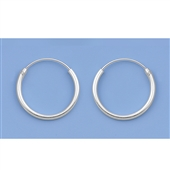 Silver Continuous Hoop Earrings - 14mm