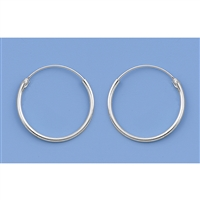 Silver Continuous Hoop Earrings - 18mm