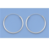 Silver Continuous Hoop Earrings - 20mm