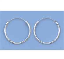 Silver Continuous Hoop Earrings - 22mm