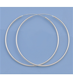 Silver Continuous Hoop Earrings - 45mm