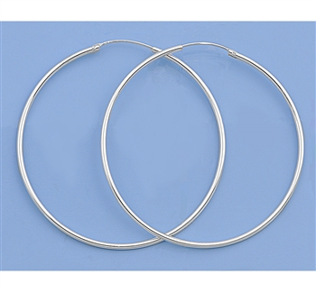 Silver Continuous Hoop Earrings - 55mm