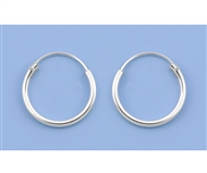 Silver Continuous Hoop Earrings - 16mm