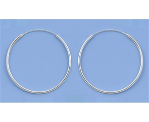 Silver Continuous Hoop Earrings - 30mm