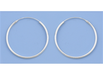 Silver Continuous Hoop Earrings - 35mm