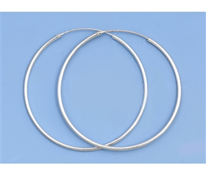 Silver Continuous Hoop Earrings - 50mm