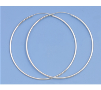 Silver Continuous Hoop Earrings - 60mm