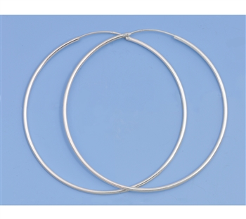 Silver Continuous Hoop Earrings - 90mm