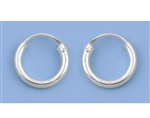 Silver Continuous Hoop Earrings - 12mm