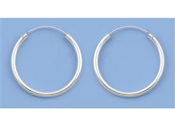 Silver Continuous Hoop Earrings - 25mm
