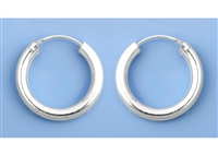 Silver Continuous Hoop Earrings - 3 X 20 mm