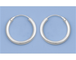 Silver Continuous Hoop Earrings - 3 X 25 mm