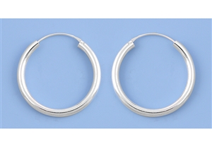 Silver Continuous Hoop Earrings - 3 X 30 mm