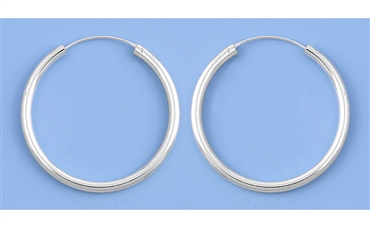 Silver Continuous Hoop Earrings - 3 X 40 mm