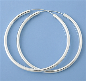 Silver Continuous Hoop Earrings - 3 X 60 mm