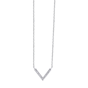 Silver Necklace W/ CZ - Downward Arrow