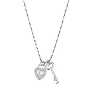 Silver Necklace W/ CZ - Key to the Heart
