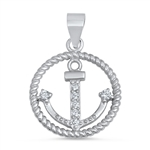 Silver Pendant W/ CZ - Circled Anchor