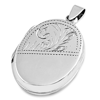 Silver Locket Pendant - Floral Engraving