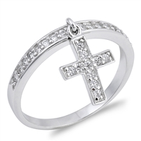 Silver CZ Ring - Dabgling Cross  -  $4.79