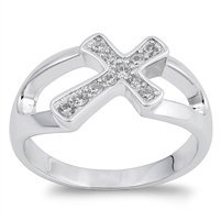 Silver CZ Ring - Cross  -  $6.98