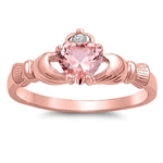 Silver Claddagh Ring - Rose Gold Plated - $4.79