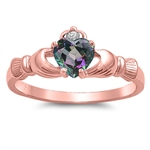 Silver Claddagh Ring - Rose Gold Plated - $3.99
