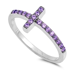 Silver CZ Ring - Sideways Cross - $4.05