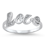 Silver CZ Ring - Love - $3.65