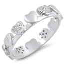 Silver Ring W/ CZ - Hearts - $6.95