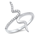 Silver CZ Ring - Vertical Wave - $4.32