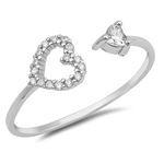 Silver CZ Ring - Open Heart - $3.30