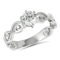 Silver Ring W/ CZ - Spiral Solitaire - $5.67