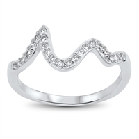 Silver CZ Ring - Waves - $4.22