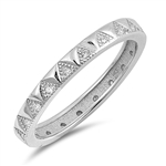 Silver Ring W/ CZ - Triangles - $4.78