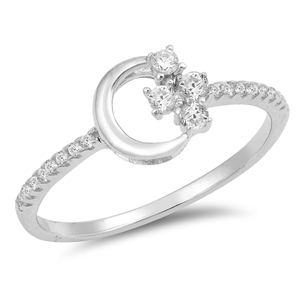 Silver CZ Ring - Moon and Stars - $4.35