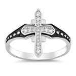 Silver Ring W/ CZ - Medieval Cross - $5.70