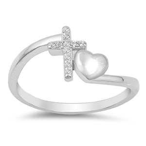 Silver Ring W/ CZ - Cross and Heart - $4.98