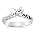 Silver Ring W/ CZ - Love Waits - $4.73