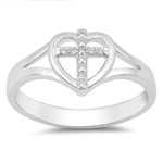 Silver Ring W/ CZ - Cross in Heart - $5.35
