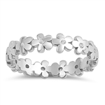 Silver Ring W/ CZ - Flowers - $4.92