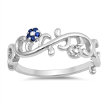 Silver Ring W/ CZ - Flowers - $5.56