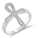 Silver Ring W/ CZ - Cross - $6.35