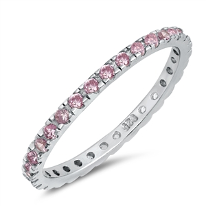 Silver Ring W/ Pink CZ - $4.39