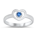 Silver Baby Ring W/ CZ - Heart  -  $2.99
