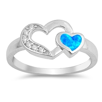 Silver Lab Opal Ring - Two Hearts - $6.10