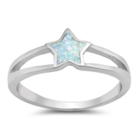 Silver Lab Opal Ring - Star - $5.25