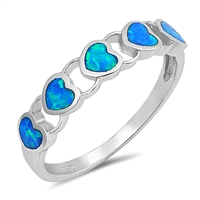 Silver Lab Opal Ring - Hearts - $6.05