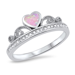 Silver Ring w/ CZ - Heart Crown - $5.74